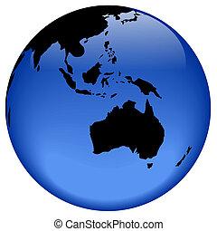 ozeanien, ansicht, erdball, -