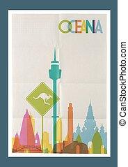ozeanien, weinlese, reise, skyline, plakat, wahrzeichen