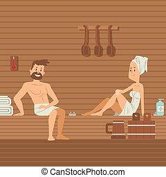 ozio, donna, vettore, ricorso, terme, caldo, illustration., asciugamani, sauna, coppia., sauna, corpo, persone sedendo, godere, trattamento, cura, romantico, wellness, rilassare, uomo