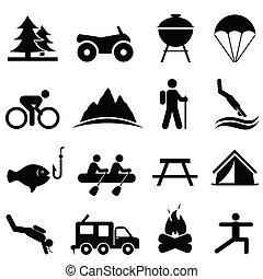 ozio, e, ricreazione, icone