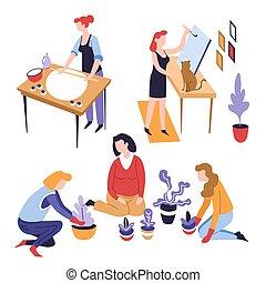 ozio, femmina, attività, o, cottura, piantatura, hobby,...