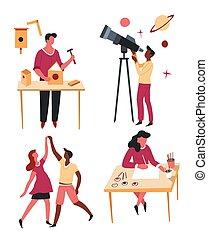 ozio, scienza, attività, o, mestiere, hobby, caratteri,...
