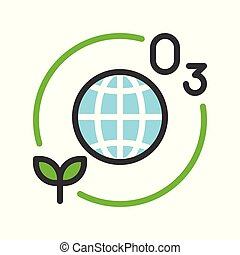 Ozone layer and plant with Globe or planet earth icon filled line flat design