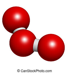 Ozone (trioxygen, O3) molecule, chemical structure. Atoms...