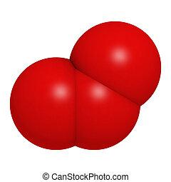 Ozone (trioxygen, O3) molecule, chemical structure -...