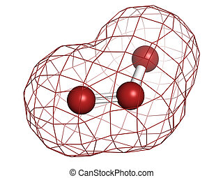 Ozone (trioxygen, O3) molecule, chemical structure. Atoms...