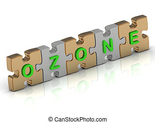 OZONE word of gold puzzle and silver puzzle on a white...
