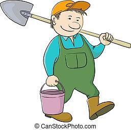 pá, balde, jardineiro, homem