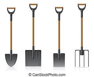 pá, cultive ferramenta, ilustração, pitchfork, vetorial