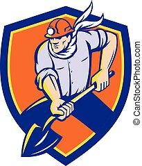 pá, escudo, mineiro, carvão, retro, cavando