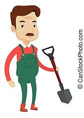 pá, vetorial, illustration., agricultor