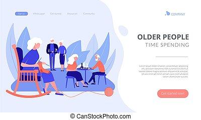 página, actividades, aterrizaje, concepto, seniors