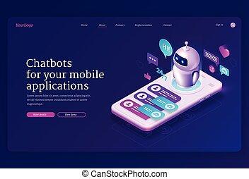 página, aterrizaje, app, móvil, chatbot, isométrico, bandera