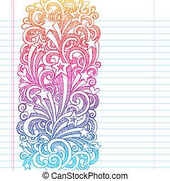 página, borda, sketchy, escola, doodles