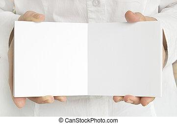 página branca, em, mãos