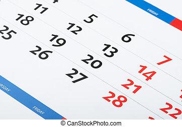 página, calendário