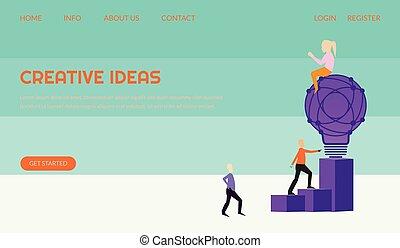 página, cartaz, pessoas, idéia, modelo, gigante, bandeira, leaflets, conceito, para, criativo, experiência., app, uso, ui, ilustração, teia, aterragem, móvel, luz, vetorial, lata, bulbo