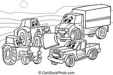 página, coloração, caricatura, máquinas, veículos