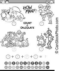 página, colorido, matemáticas, avtivity, niños