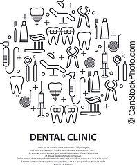 página, conceito, modernos, equipment., toothpaste, dente, teia, bandeira, ícones, media., impressão, círculo, dental, ilustração, floss, odontólogo, implante, linha, médico, coroa, vetorial, magra