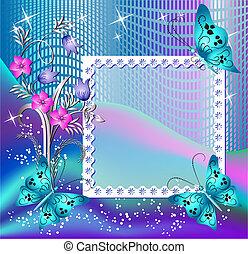 página, disposición, postal, con, flores, y, mariposa