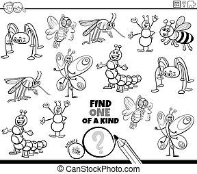 página, insectos, juego, color, uno, clase, libro