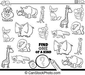 página, juego, color de los animales, uno, clase, libro