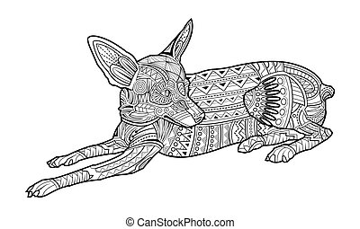 página, lindo, perro, colorido, chihuahua, casta
