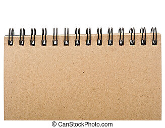 página, nota, espiral, vazio, isolado, limite, cobertura frente, experiência., em branco, almofada, branca
