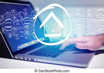 página principal, icono, salir, un, computador portatil, interfaz, -, tecnología, concepto