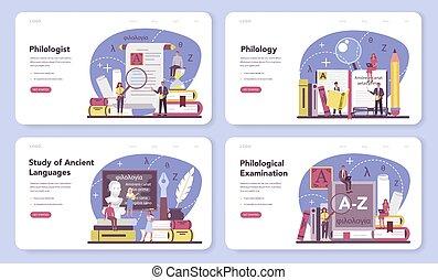 página, profissional, teia, ou, set., cientista, aterragem, philologist, bandeira