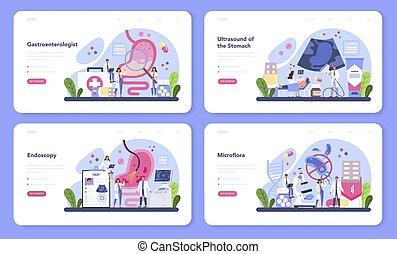 página, salud, set., idea, gastroenterología, doctor, aterrizaje, tela, bandera, o, cuidado