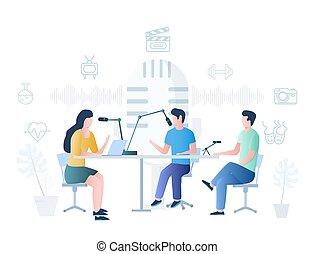 página web, conceito, podcast, vetorial, bandeira, site web