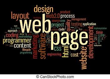 página web, concepto, en, palabra, etiqueta, nube