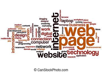 página web, palabra, nube