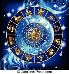 página, zodíaco, calendario