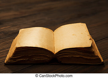 páginas, antigas, madeira, amarela, papel, em branco, tabela, livro aberto, vazio