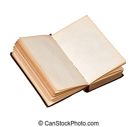 páginas, livro, branca, isolado, antigas, em branco, aberta