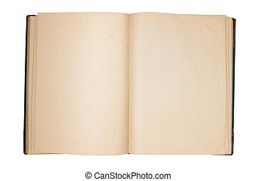 páginas, livro, vazio, antigas, fundo, isolado, abertos, branca