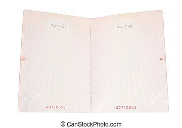 páginas, passaporte, em branco
