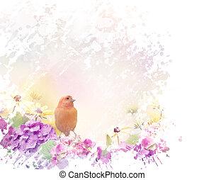 pájaro amarillo, con, flores