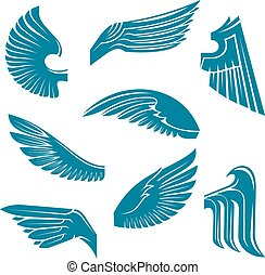 pájaro azul, alas, heráldico, diseñe elementos