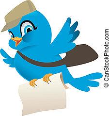pájaro azul, con, correo
