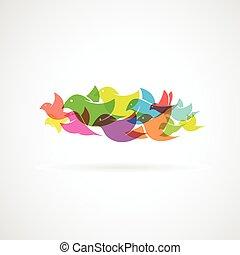 pájaro, blanco, plano de fondo, -, vector, ilustración