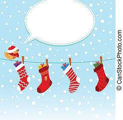 pájaro, calcetines, navidad