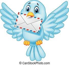 pájaro, caricatura, carta, entregar