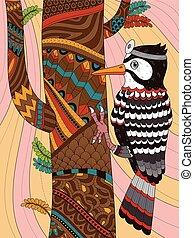 pájaro carpintero, adulto, colorido, página