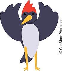 pájaro carpintero, caricatura, divertido, estilo, icono