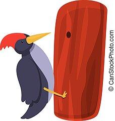 pájaro carpintero, caricatura, trabajando, estilo, icono