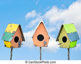 pájaro, casas, debajo, un, cielo azul